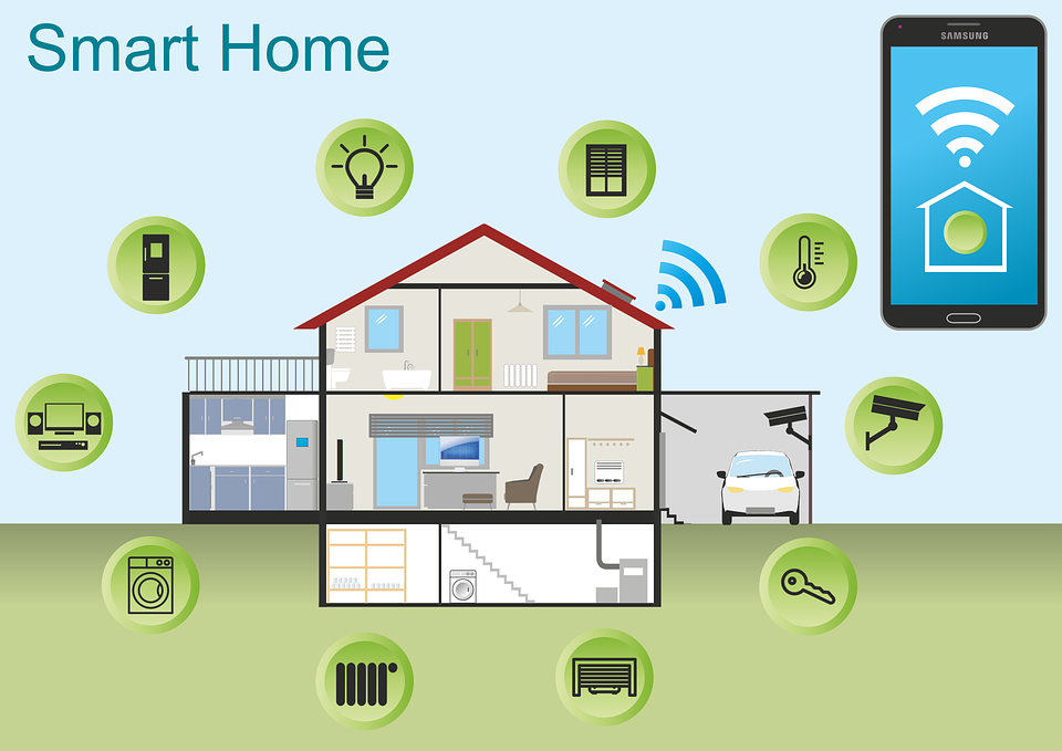 An illustration of a smart home with icons representing various smart home features, and a mobile phone connected to the house with internet.